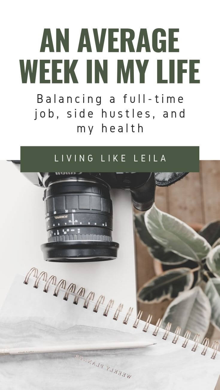 An average week in my life: Balancing a full-time job, side hustles, and my health. Plus a few tips for how to prioritize important things in your life. www.LivinglikeLeila.com