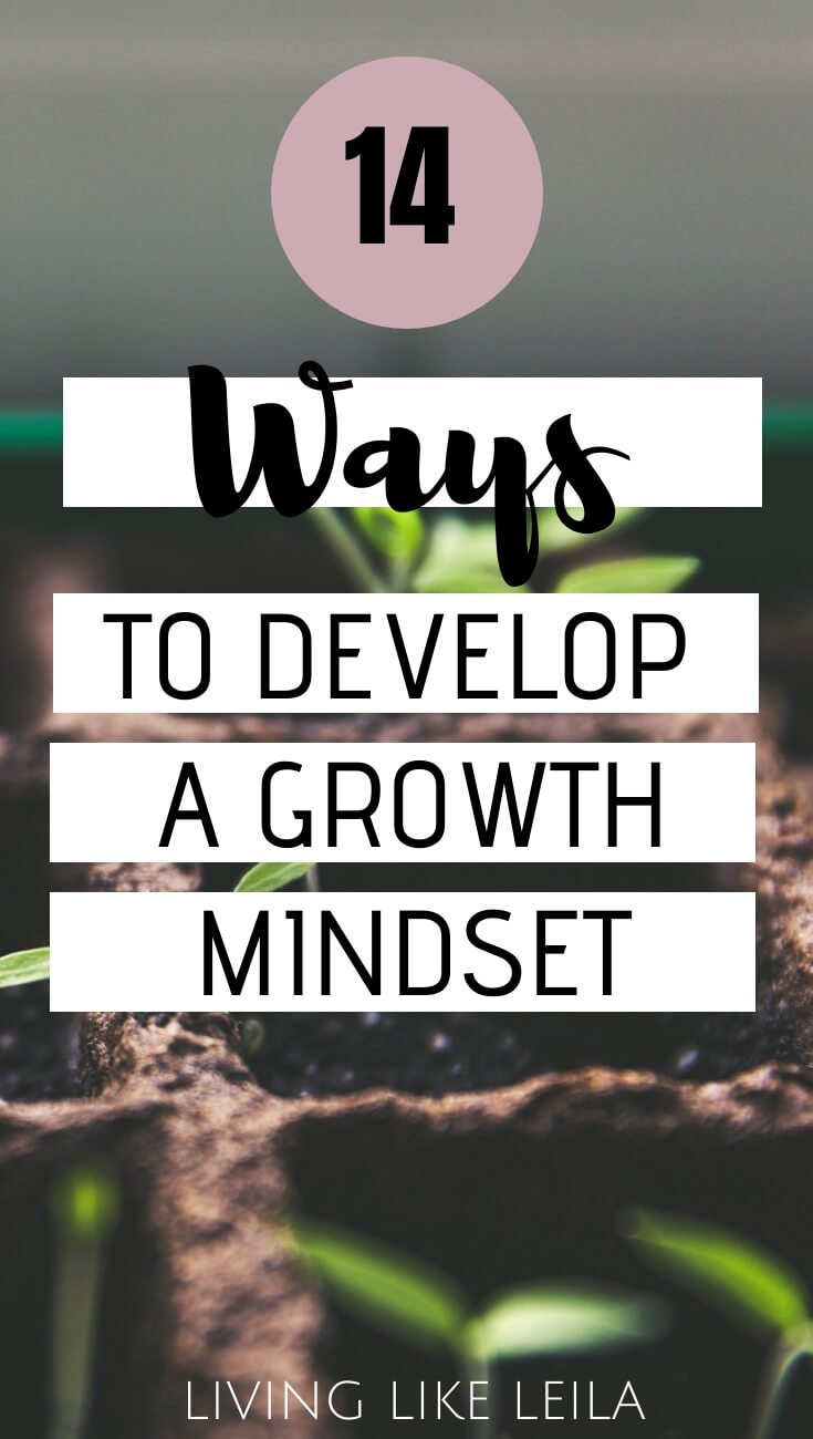 Do you have a growth mindset or a fixed mindset? If you want to drastically change your life and reach your goals, here are 14 ways to develop a growth mindset. www.LivinglikeLeila.com